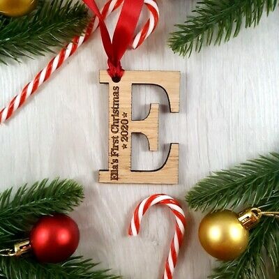 Personalised Child's First Christmas Tree Decoration Wooden Letter Gift Bauble