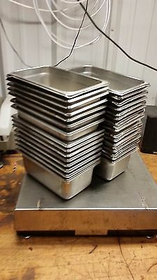 32 Steam buffet Table Pans 10 1/2 x 6-3/8 x4 Stainless Steel half third quarter
