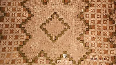 Vintage Norway Hardanger lace textile woven flax linen two-toned~gold thread