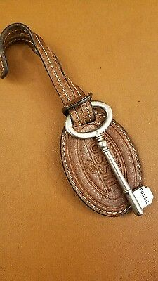 FOSSIL Brown Leather Purse Charm Replacement Hang Silver Tone Key Fob
