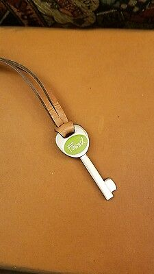 Fossil Silver Tone Green Replacement Key Fob Leather Strap