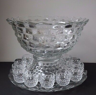 """Fostoria American 18"""" Punch Set with Punch Bowl Pedestal Underplate & 12 Cups"""