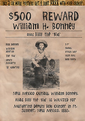 Billy The Kid Wanted Poster Garrett Outlaw Bandit Old West Western Earp Holliday