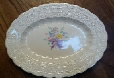 Edwin M. Knowles China Fashion Shape Floral Scalloped Serving Platter Spring