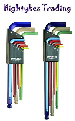 Bondhus hex keys allen key colour ball ended allen metric long extra long set