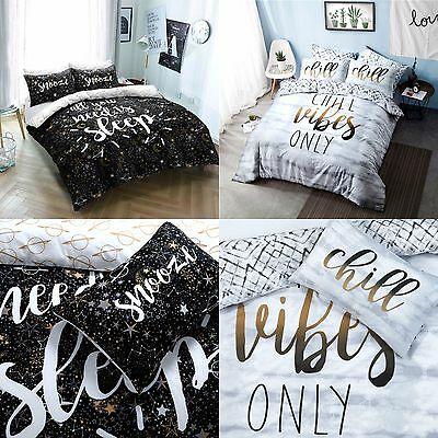 Slogans Polycotton Duvet Cover Sets with Pillow Cases Bedding Sets