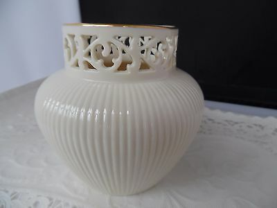 Lenox Ivory Vase-  Gorgeous Ribbed Bottom Pierced Lace Top- Perfect Condition!