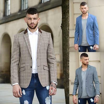 Mens Cavani Designer Tweed Herringbone Checkered Vintage Tailored Blazer Jacket