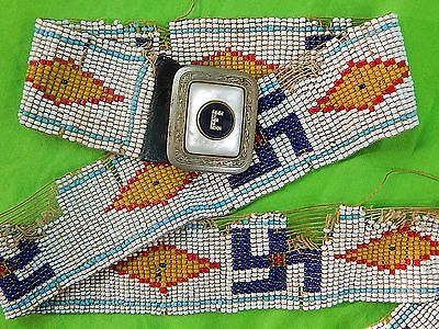 1920-30's Native American Indian Beaded Whirling Log Symbols Belt Marked Buckle