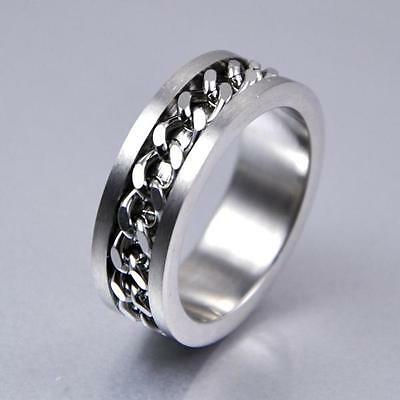New Classic Men Silver Curb Chain Center Stainless Steel Band Ring 8mm No.18 N&