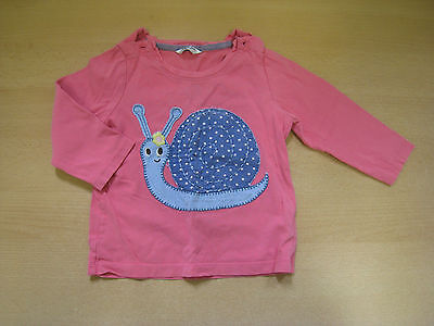 BABY BODEN GIRLS LONG SLEEVE T SHIRT TOP age 12-18m PINK w/ APPLIQUE SNAIL