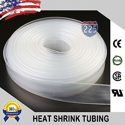 "20 FT. 20' Feet CLEAR 1"" 25mm Polyolefin 2:1 Heat Shrink Tubing Tube Cable US"