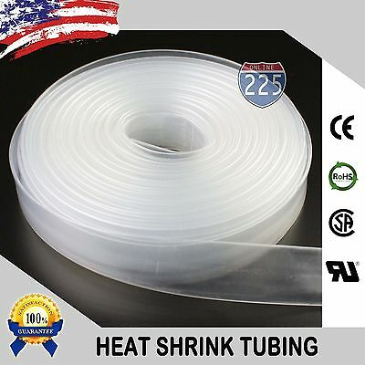 "20 FT. 20' Feet CLEAR 3/4"" 19mm Polyolefin 2:1 Heat Shrink Tubing Tube Cable US"