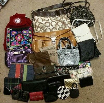 Wholesale lot of Purses, Handbags, wallets, wristlets - Some pre-owned, some not