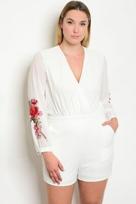 240661e90bb Women s Plus Size White Floral Romper W  Slit Back   Sheer Sleeves 1X Nwt