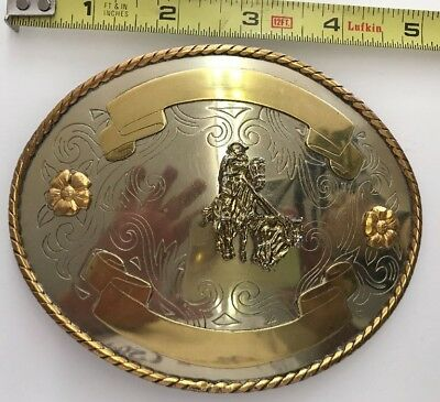 "Vintage German Silver Belt Buckle 5"" X 4"""