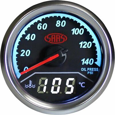 SAAS Trax Gauge - Black Face, 52mm, Dual Oil Pressure/ Water Temperature Anal...