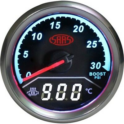 SAAS Trax Gauge - Black Face, 52mm, Dual Diesel Boost/Exhaust Temperature Ana...