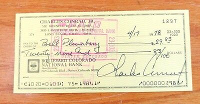 Pete Conrad Signed Check. Nasa Astronaut, Third Man To Walk On The Moon.