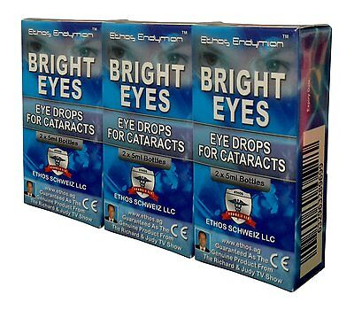 Ethos Bright Eyes N-Acetyl-Carnosine Eye Drops for Cataracts 3 Boxes 30ml