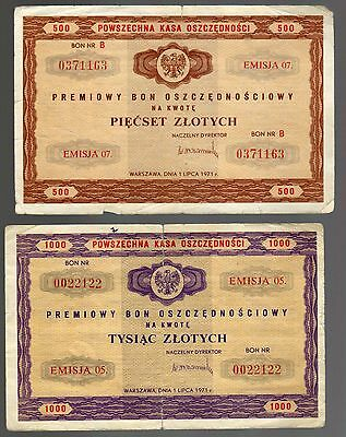 POLAND:  500 and 1,000 ZLOTYCH  (Bon - Coupon)  (1971)  (07.0371163)