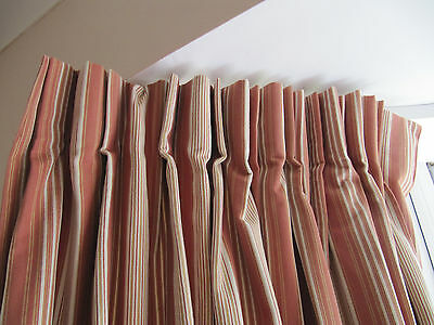 New Laura Ashley Awning Stripe Curtains In Cranberry 90x90
