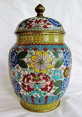 Bright Floral Meji Period Japanese Intricate Cloisonne Lidded Tea Jar Box Caddy