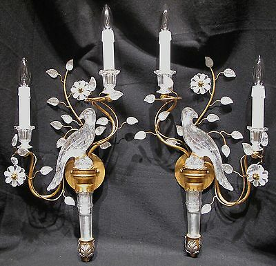 Large Opposing Pair of Maison Bagues Style Parrot Sconces Crystal and Gold Leaf
