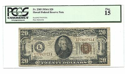 $20 Hawaii Federal Reserve Note, Jackson, PCGS 15