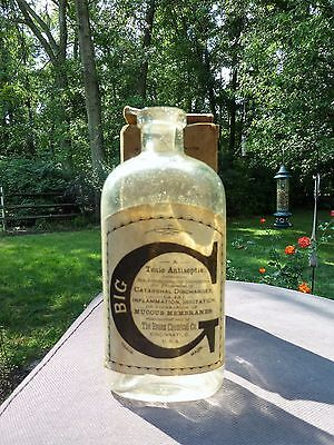 1800's Big C Cincinnati Pharmacy Apothecary Cure Bottle With Label And Box