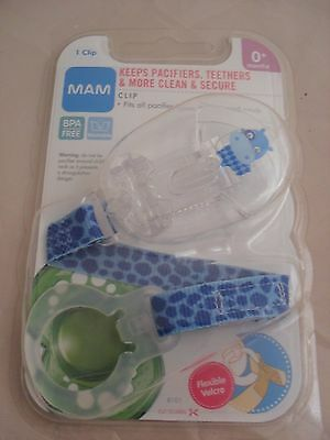 MAM Hippo Soother Clip Blue Pacifier Clip, Teether Clip, BPA Free 0+