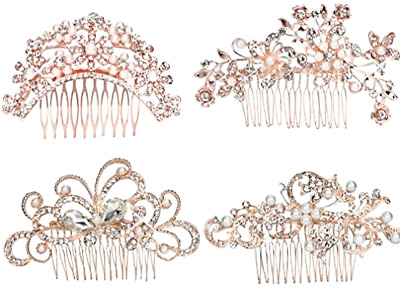 4pcs Bridal Hair Comb Pearl Crystal Headpiece Wedding Accessories Rose Gold