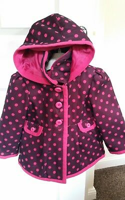 gorgeous coat by George at Asda girls age 3-4 years pink purple polka dot spot