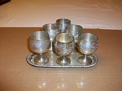 6 Silverplate Cordials with Tray, stamped EPNS