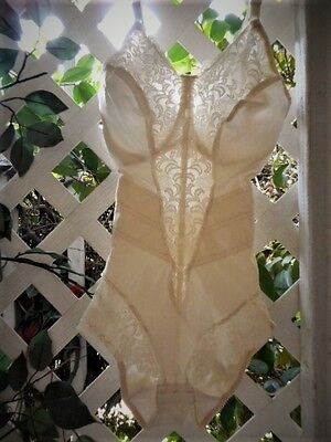 Very Petite Ivory Satin & Lace Under-Wired Body Suit Shaper ~ 34D/xs