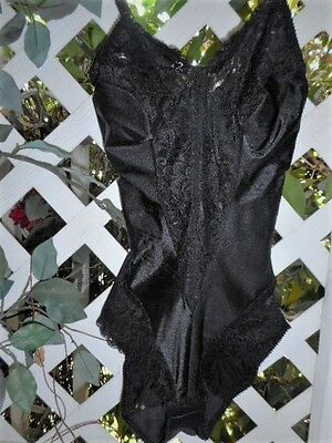 Very Petite Black Satin & Lace Under-Wired Body Suit Shaper ~ 34D/xs