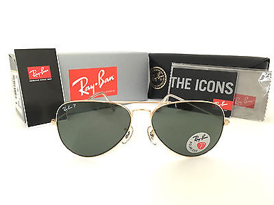 New Ray Ban RB3025 001/58 58mm  Aviator Polarized Green Len Gold Frame