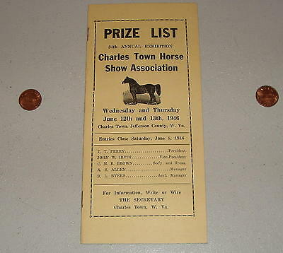 1946 34th Annual Exhibition Charles Town WV Horse Show Assoc. Program Prize List