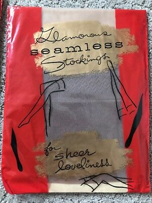 VINTAGE LADIES GLAMOROUS SIZE 11 SEAMLESS STOCKINGS For Sheer Loveliness