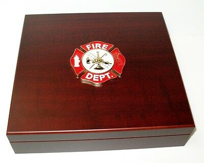 Firefighter Large Metal Logo Mahogany Red Finish Dresser Gift Presentation Box