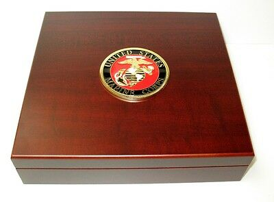 US Marines Large Metal Logo Mahogany Red Finish Dresser Gift Presentation Box