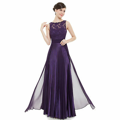 Women Round Neck Evening Party Ball Gown Bridesmaid Sleeveless Long Formal Dress
