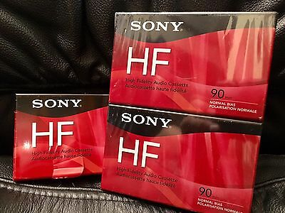 Sony HF 90 Minute Blank Audio Cassette Tapes C90HFR NEW SEALED 3 Pack