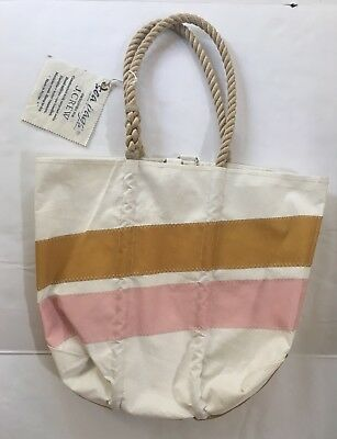 NWT Sea Bags for J Crew Medium Tote C6312 $170 pink tan white rope handle bag