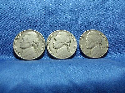 1951 P, D & S Jefferson Nickels - lot of 3 coins