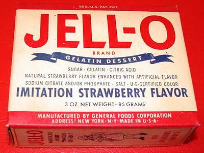 VINTAGE 1950's JELL-O STRAWBERRY Flavor Full Box OLD STORE STOCK mib NOS mint !!