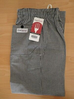 Chef Works Designer Check Clothing Black & White Gingham Checks Pants NIP