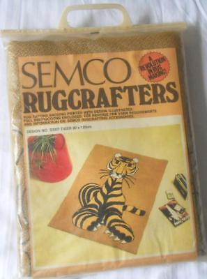 Vintage Semco Traced Burlap Quality Hessian Wool Rug Hooking Tiger 90 X 120 Cms