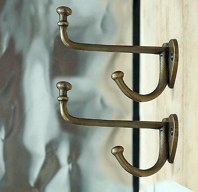 Set of 2 pcs Vintage Retro LOVE HOOK Antique Solid Brass Strong Wall Mount hooks
