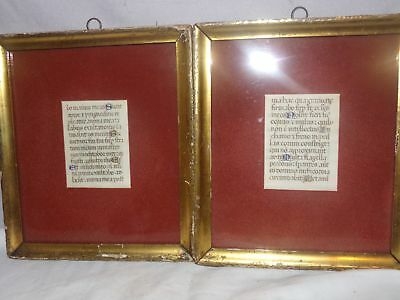 2 ANTIQUE BIBLE SCRIPTURES-GUTENBERG BIBLE?WESTERN EUROPE-PAGES-LATIN-1450s?NR